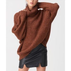 Brown Ribbed Large Turtleneck Chunky Knit Sweater